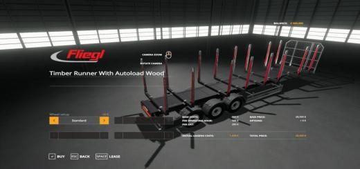 Photo of FS19 – Fliegl Timber Runner With Autoload Wood V1