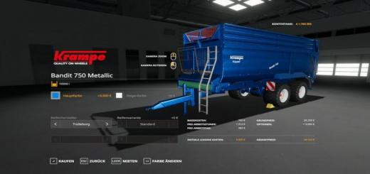 Photo of FS19 – Krampe Bandit 750 – Metallicedit 100000 Liters V1