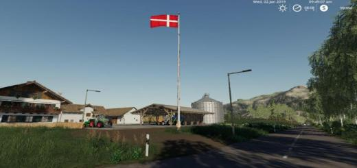 Photo of FS19 – Denmark Flag V1.0.1