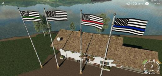 Photo of FS19 – Usa Thin Line Pack Flags V1