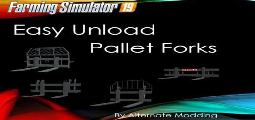 Photo of FS19 – Easy Unload Pallet Forks V1