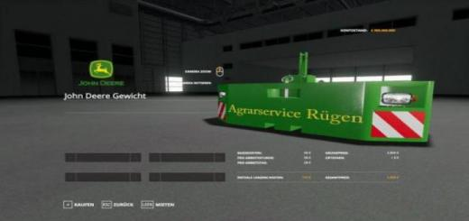 Photo of FS19 – John Deere Weight Agrarservice Rugen V1