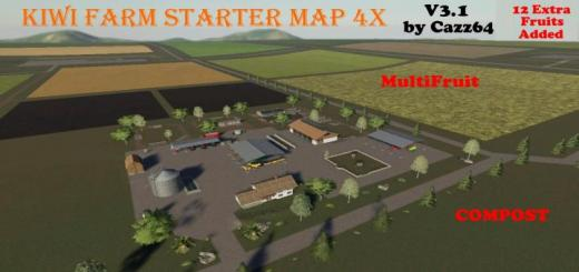 Photo of FS19 – Kiwi Farm Starter Map 4X Multi Fruit & Compost V3.1