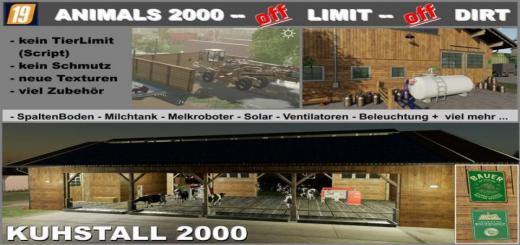 Photo of FS19 – Cowshed 2000 Without Animal Limit + No Pollution + Accessories V1.3