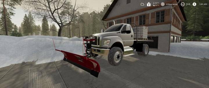 FS19 - Ford F750 Flatbed Plow Truck V1