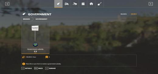 Photo of FS19 – Government Subsitity V1.0.1