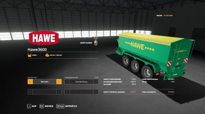 FS19 - Hawe Ulw 3600 Trailer V1