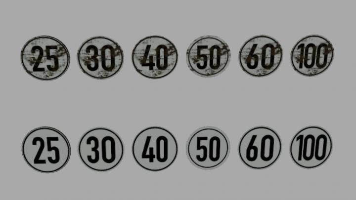 FS19 - Sheet Metal Sign With Speed Sticker (Prefab) V1