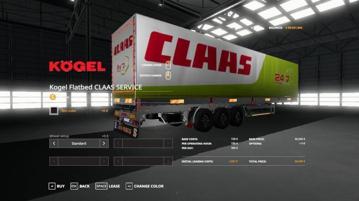 FS19 - Claas Service Kogel Autoloader Trailer V1