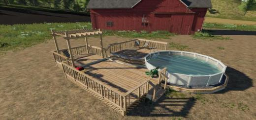Photo of FS19 – Garden Decking And Pool V1