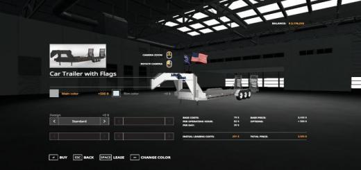 Photo of FS19 – Loadtrail Triaxl Wth Flags V1