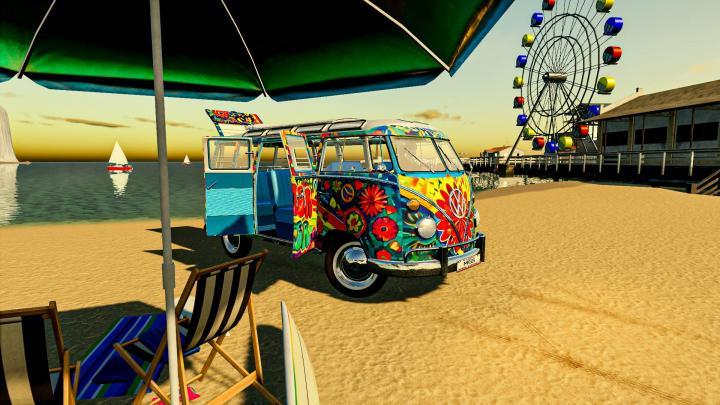 FS19 - Hippy Volkswagen Van V1