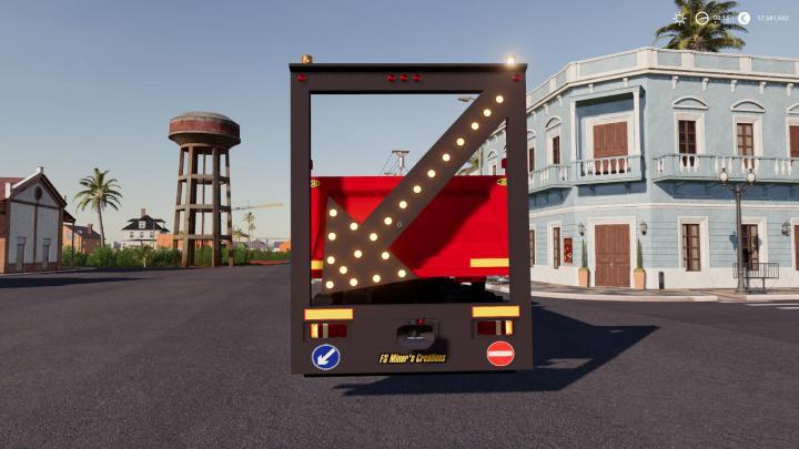 FS19 - Public Works Rear Sign For Trucks V1