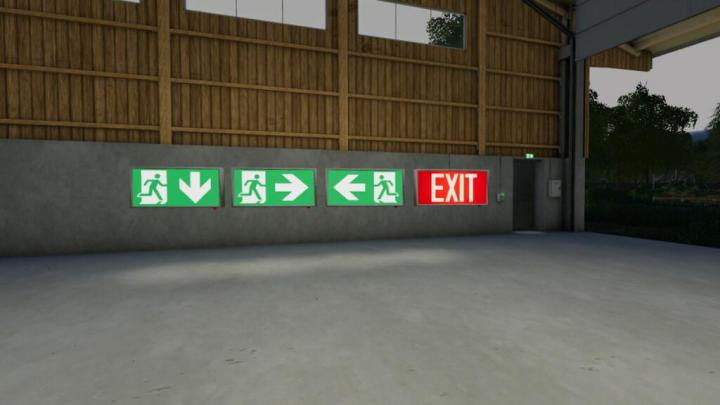 FS19 - Exit Sign (Prefab) V1