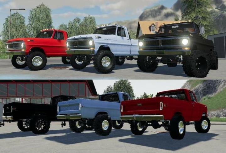 FS19 - 1970 Ford F250 With Colision On Flatbed V1.1