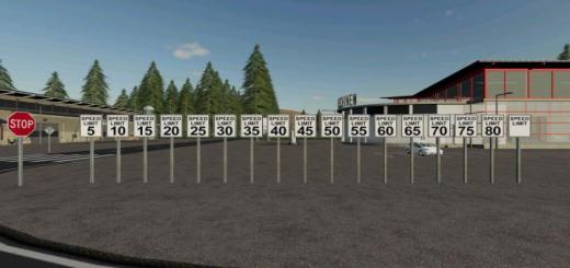Photo of FS19 – Speed Limit/Restriction Signs V1