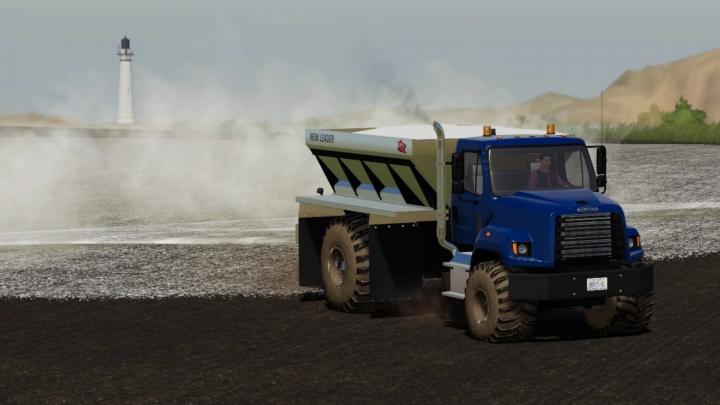 FS19 - Freightliner 108Sd With New Leader L4330G4 Lime / Fertilizer Spreader V1.0